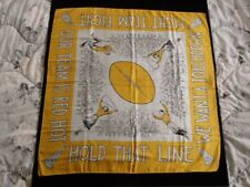 >Old 1940's VINTAGE FOOTBALL SILK SCARF by Earl Bernard 31x31 GREAT GRAPHICS!