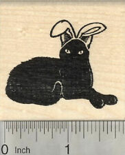 Easter Black Cat Rubber Stamp, in Bunny Ears G27203 WM