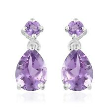 Sterling Silver Pear Amethyst Dangle Drop Earrings Jewelry For Women