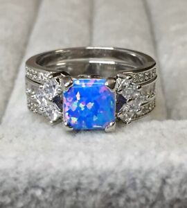 💙Beautiful Size 9 Baby Blue Fire & White Topaz GOGO Ring Bomb Party - WOW! 2160