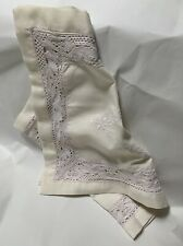 More details for vintage ivory embroidered and lace table runner size 33 x 15 inches