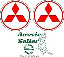 Mitsubishi red centre cap stickers TWO (2) 50 mm round