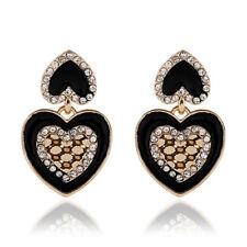 GOLD TONE BLACK ENAMEL HEART DROP EARRINGS WITH  DIAMANTE RHINESTONE CRYSTAL