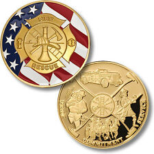 NEW Fire Fighter - Maltese Cross Flag. Pride, Commitment, Challenge Coin 57023