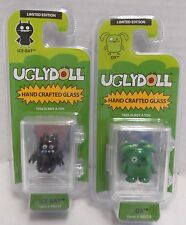 """Uglydoll Hand Crafted Glass Limited Edition 1"""" figurines - set of 2, Nip, Mint!"""