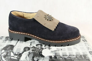 Fun & Co By Wortmann Ladies Costume Dress Shoes Brogue Low Shoe Leather Blue New