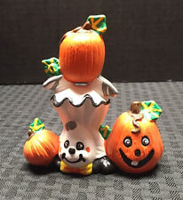 Pumpkin in Ghost Costume Halloween Handmade Ceramic Orange/White/Green - CUTE!