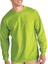 (2) Xl Safety Green Long Sleeve T-Shirt W/Pocket Extra Large Gilden Usa- 285459