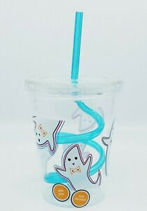 HALLOWEEN KIDS CHILDS TODDLERS GHOST SWIRL STRAW TUMBLER SIPPY CUP NEW