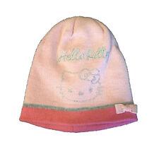 HELLO KITTY casquette brodé avec glitter en laine rose avec small bow par bambi