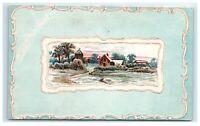 Postcard Village Scene blue embossed greeting C53