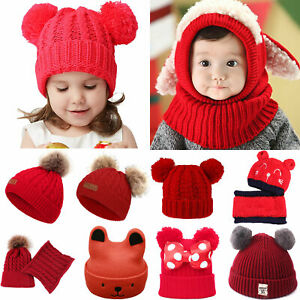 Kids Baby Boys Girls Hat Toddler Winter Warm Knit Stretch Soft Pom Beanie Cap