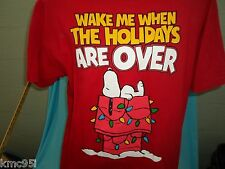Peanuts Snoopy Wake Me When the Holidays Are Over Shirt S Small NEW with Tag
