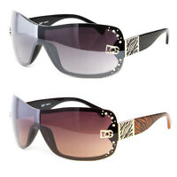 DG Eyewear Women Rhinestone Shield Large Designer Sunglasses Shades Fashion Wrap