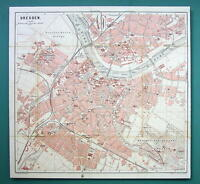 """1884 MAP Baedeker - GERMANY Dresden City Plan 11 x 11.5 """" (28 x 30 cm)"""