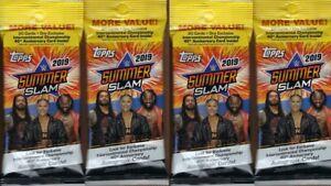 (4) 2019 Topps WWE SUMMER SLAM New Wrestling Trading Cards 21ct FAT PACK LOT