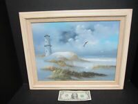 Vtg Original Beach Lighthouse Seagulls Oil Painting Signed Framed 20x16 Nautical
