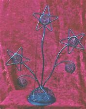 COUNTRY BROWN  METAL HEAVY WIRE PICTURE HOLDER WITH 3 STAR FLOWERS