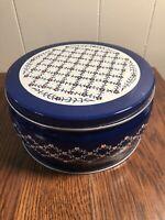 Vintage Valleybrook Farms PLAIN & FANCY Storage Tin Blue Floral Button Box