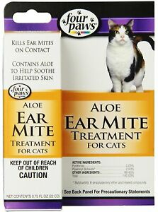 Four Paws Aloe Ear Mite Treatment 0.75 oz   Soothing Relief for Cats