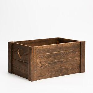 Wickerfield Burn Finsh Wooden Crate Heart Design Home Storage Box