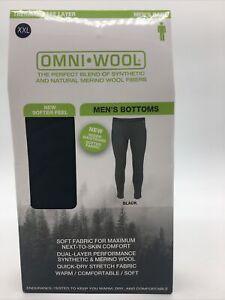 New Omni Wool Mens Thermal Base Layer Bottoms Black Size XXL