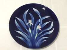 """VINTAGE MADE IN JAPAN DARK BLUE FLORAL IRIS ORCHID CHARGER PLATE 12.5"""""""