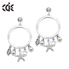 Shelly Star Rhodium Plated(White Gold) Crystal Pearl Drop Earrings-Bridal Gift