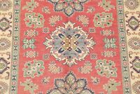 One-of-a-Kind CORAL RED Super Kazak Area Rug Hand-Knotted Bedroom Carpet 5'x7'