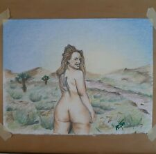 Original 8.5x11 Colored Pencil Drawing Of Nude Woman In The Desert Done By...