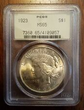 1923 PEACE SILVER DOLLAR S$1 PCGS MS65 MS-65 GEM OLD GREEN HOLDER