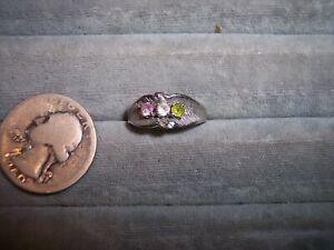 14K White Gold 3 stone Mother's Ring Pink & white sapphire + Peridot Sz 8