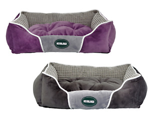 Heritage Deluxe Plush Fabric Dog Bed Super Soft Warm Basket Puppy Cushion Cat