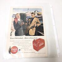 Vintage 1949 Coca Cola Magazine Print Ad Travel Refreshed Pennsylvania Railroad