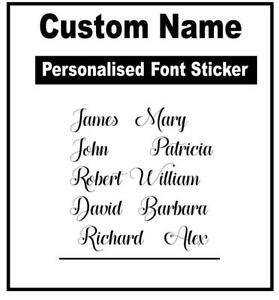 Custom Text Colour Personalised Your Name Stickers Vinyl Decal Own Words Wall A5
