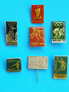 MOSCOW-1980 SET x 7 PIN BADGES CCCP USSR COLLECTION ОЛИМПИАДА OLYMPIC GAMES