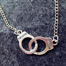 Women Retro Simple Handcuffs Intersect Chain Necklace Pendant Beautiful Jewelry