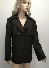 Lafayette 148 New York Womens Chocolate Brown Button Coat Wool Linen Blend Sz 14