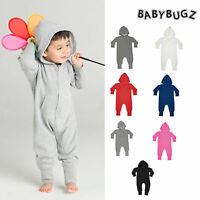 BabyBugz Baby All in one (BZ25) Toddler Plain One Piece Hooded Zipped 6mth-3yrs