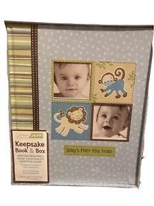 New Seasons Jenny Jeff Baby Boy Keepsake First Five Years Book Box Jungle Monkey