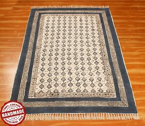 Blue Handmade Area Rugs Block Printed Cotton Dhurrie Outdoor Patio Rug 9x12 ft