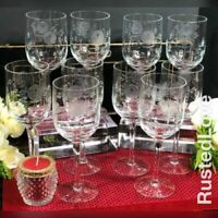 Vintage Clear Crystal Wine / Water glasses with Etched Roses and Leaves Set - 10