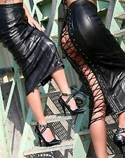 Black Faux Leather Look Skirt with Lace Up Revealing Back