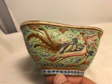 Antique Japanese Turquoise Pottery Porcelain Handpainted Bowl Red Hallmark