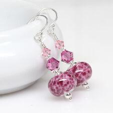 Raspberry Rose Lampwork Glass Earrings, Artisan, Elegant, Sterling Silver