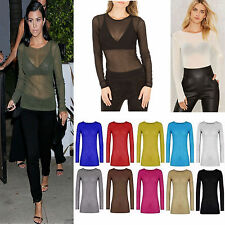 Women Ladies Sheer Mesh Fish Net Long Sleeve Scoop Neck See Through Top T-Shirt
