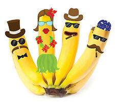 Wallies BANANA FUN wall stickers about 100 decals fruit hat glasses faces hair +