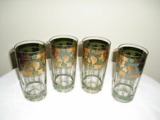 Set of 4 Vintage Mid Century CERA HighBall Tumber Glasses  22K Gold - GRAPES