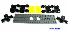LEGO ® ferrovia/treno vagone Set/6x24 COLORE GRIGIO SCURO PIASTRA/2x buffer, assi 4x