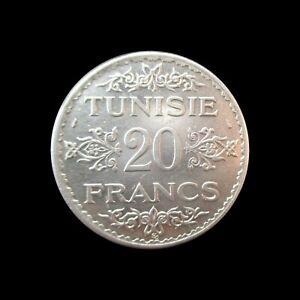 TUNISIA 20 FRANCS 1934 (AH 1353) SILVER KM 263 #3887#